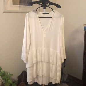 Zara (size S) white chiffon dress / long top